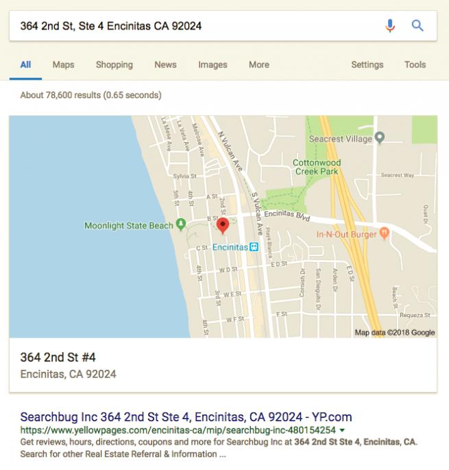 Reverse address lookup business results