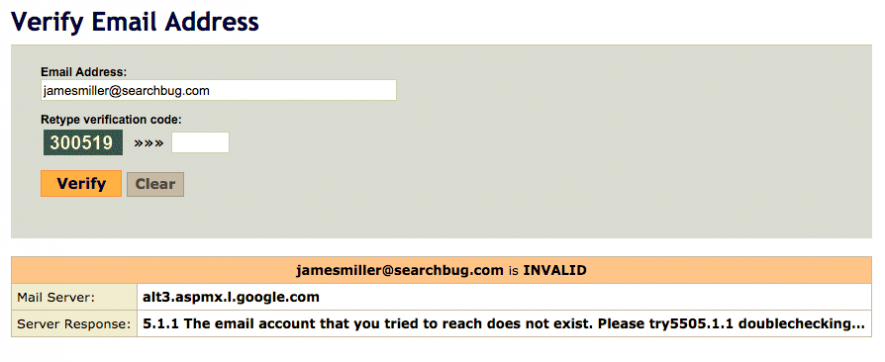 Searchbug found that my fake email address wasn't real with a simple email address validation check.
