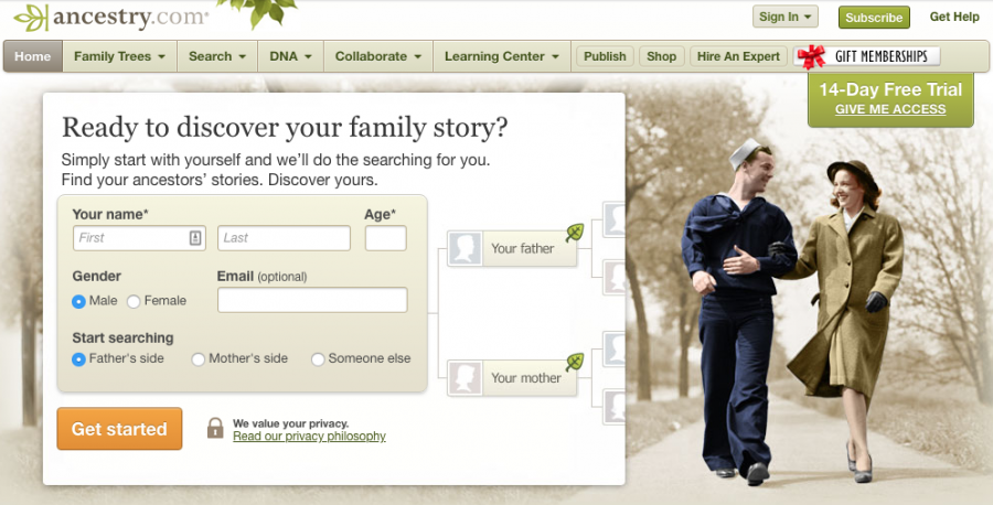 Ancestry.com in 2012.