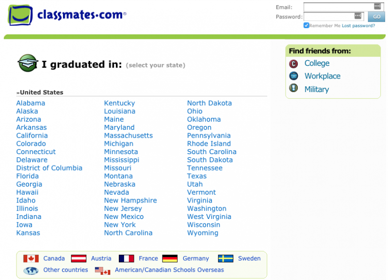 How Classmates.com looked in 2008.