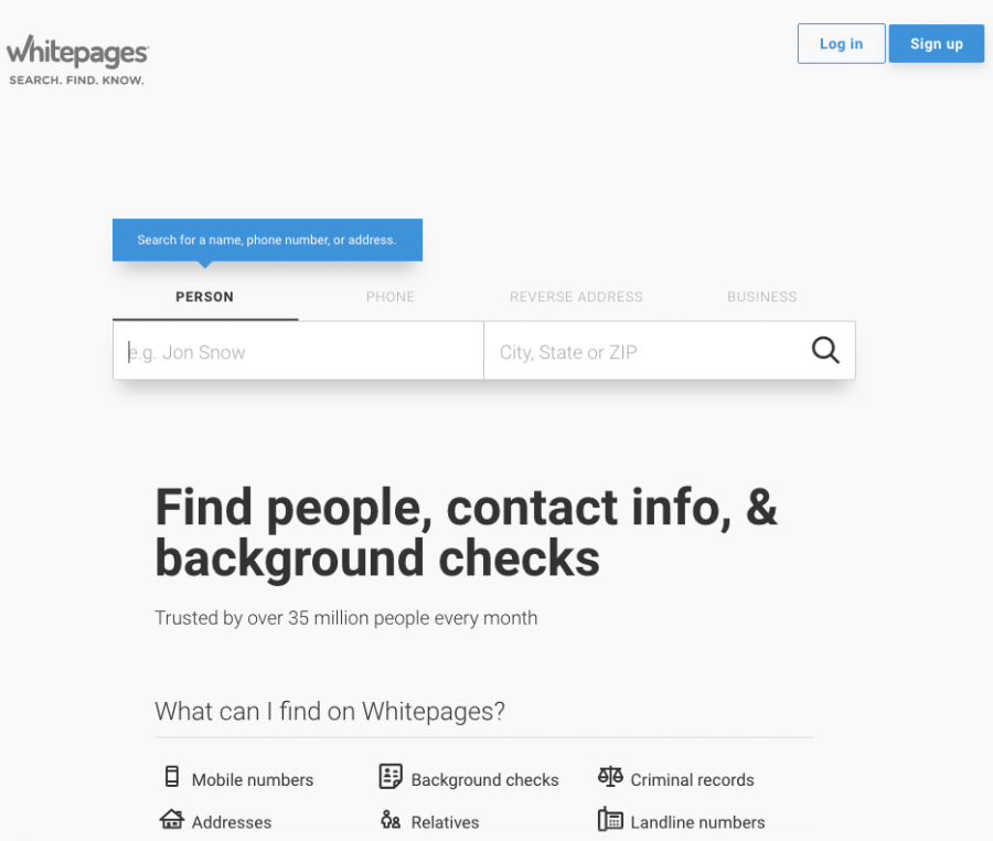 Whitepages.com, present day.