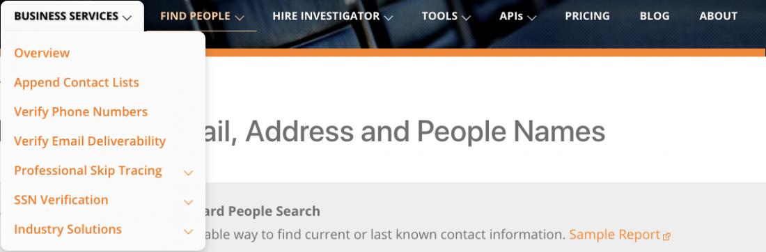 Searchbug Business Services Menu