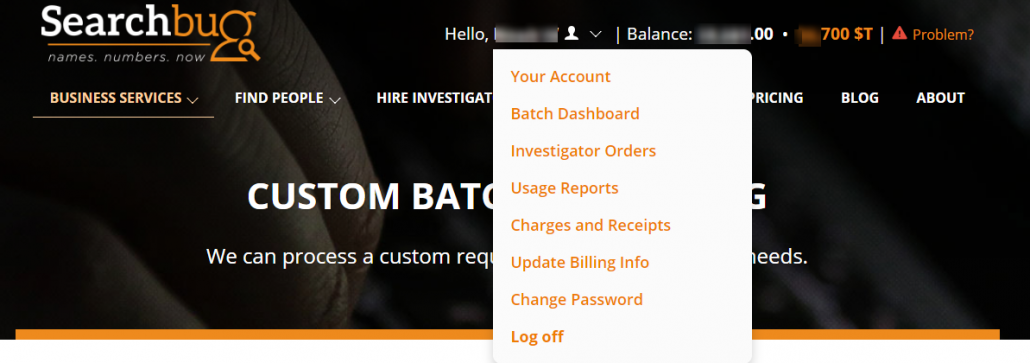 Searchbug My Account